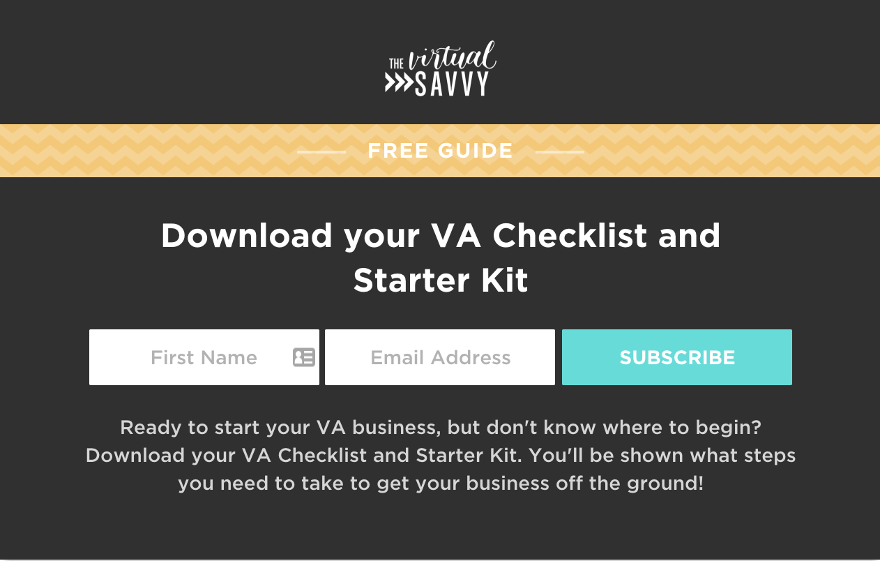 The Virtual Savvy Home Page Opt-in